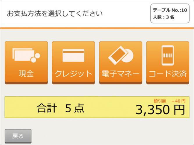 お支払い方法選択画面